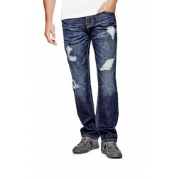 GUESS Delmar Slim Straight Jeans in Dark Destroyed Wash - Dark Destroyed