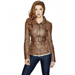 Bunda Guess Reza Faux-Leather Jacket hnědá