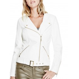 GUESS Women's Evelyn Moto Jacket bílá