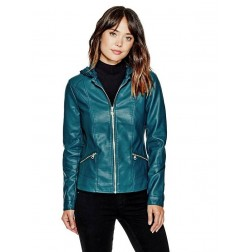 Bomber GUESS bunda Krysta Faux Leather Jacket zelená