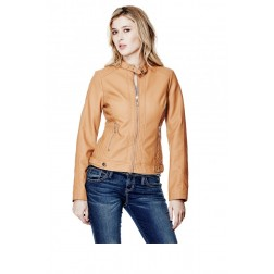GUESS Posha Faux-Leather Jacket - tan