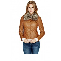 GUESS Leema Faux-Leather Jacket - cognac