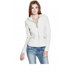 GUESS GUESS Krysta Faux-Leather Bomber Jacket - macadamia