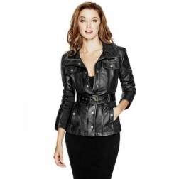 Bunda Guess Reza Faux-Leather Jacket černá